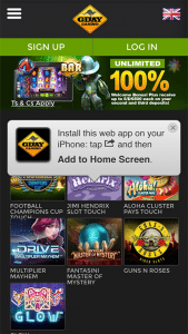 G'day Casino mobile screenshot