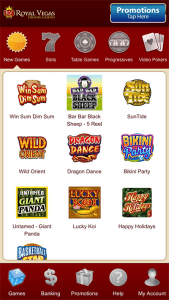 Royal Vegas mobile app screenshot