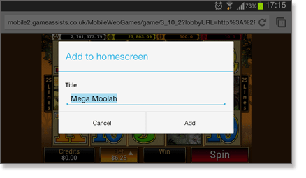 Mega Moolah Add to Homescreen