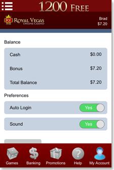 Royal Vegas iOS App My Account