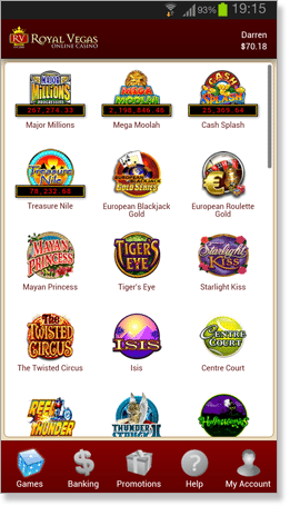 Royal Vegas App Games Page