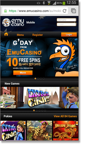 Emu Mobile Casino Interface