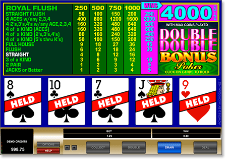 Microgaming Instant Play Double Double Bonus Poker