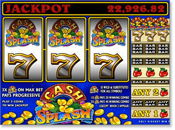 Cash Splash 3-Reel Progressive Pokie with Wild Cherry Scatter Symbols
