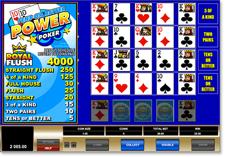 Instant Play Online Tens or Better poker