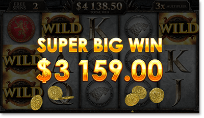 Super Big Win on Game of Thrones Free Spins Bonus