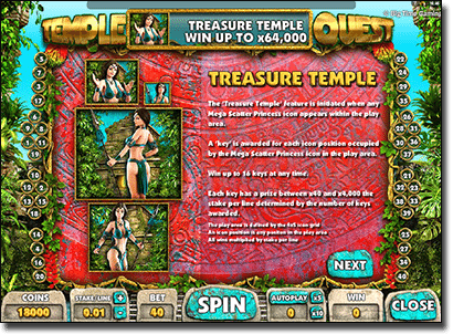 Temple Quest Payouts Online @ Thrills Casino