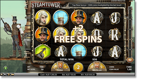 Play Steam Tower pokies now for real money online