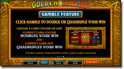 Golden Princess gamble feature