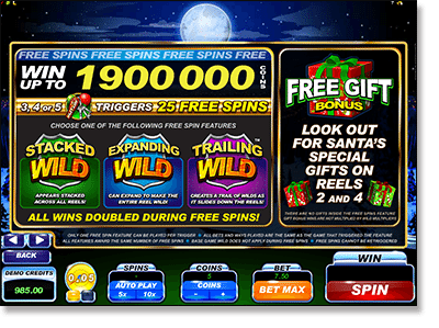 Play Santa's Wild Ride video slots for real money