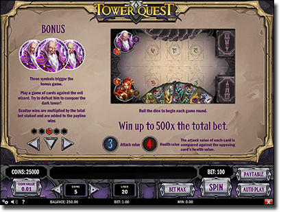 Tower Quest slots bonus features