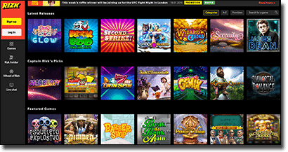 Rizk online casino games catalogue