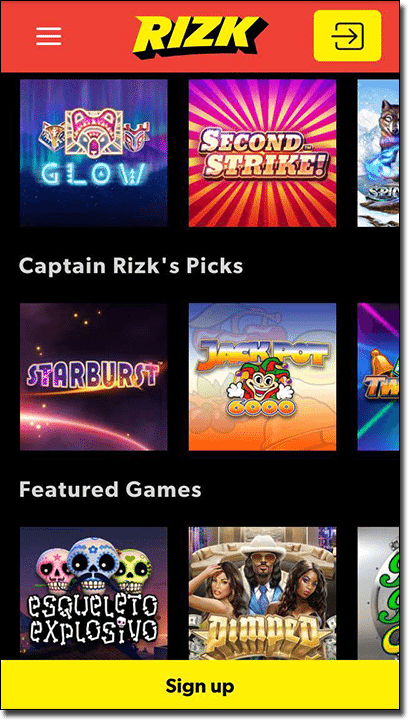 Rizk mobile casino site games list