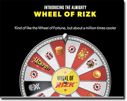 Wheel of Rizk loyalty program at Rizk Casino