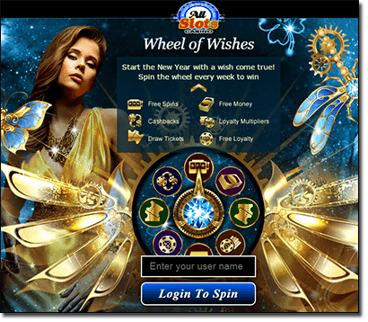 All Slots Casino Wheel of Wishes