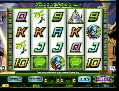 Green Lantern pokies by Cryptologic