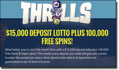 Thrills Casino $15,000 April lottery