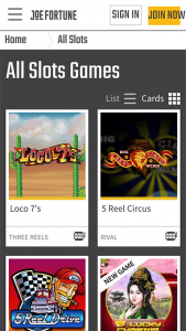 Joe Fortune mobile pokies site