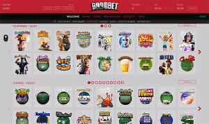 A sample of Boombet Casino's instant-play game lobby.
